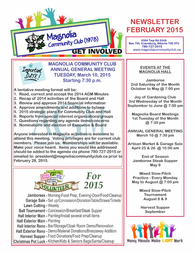 Magnolia Feb 2015 Newsletter Pg 1